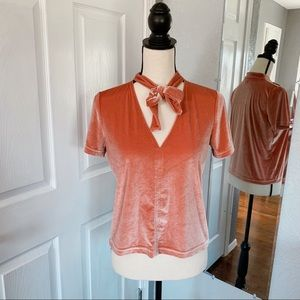Madewell velvety pink tie neck blouse small